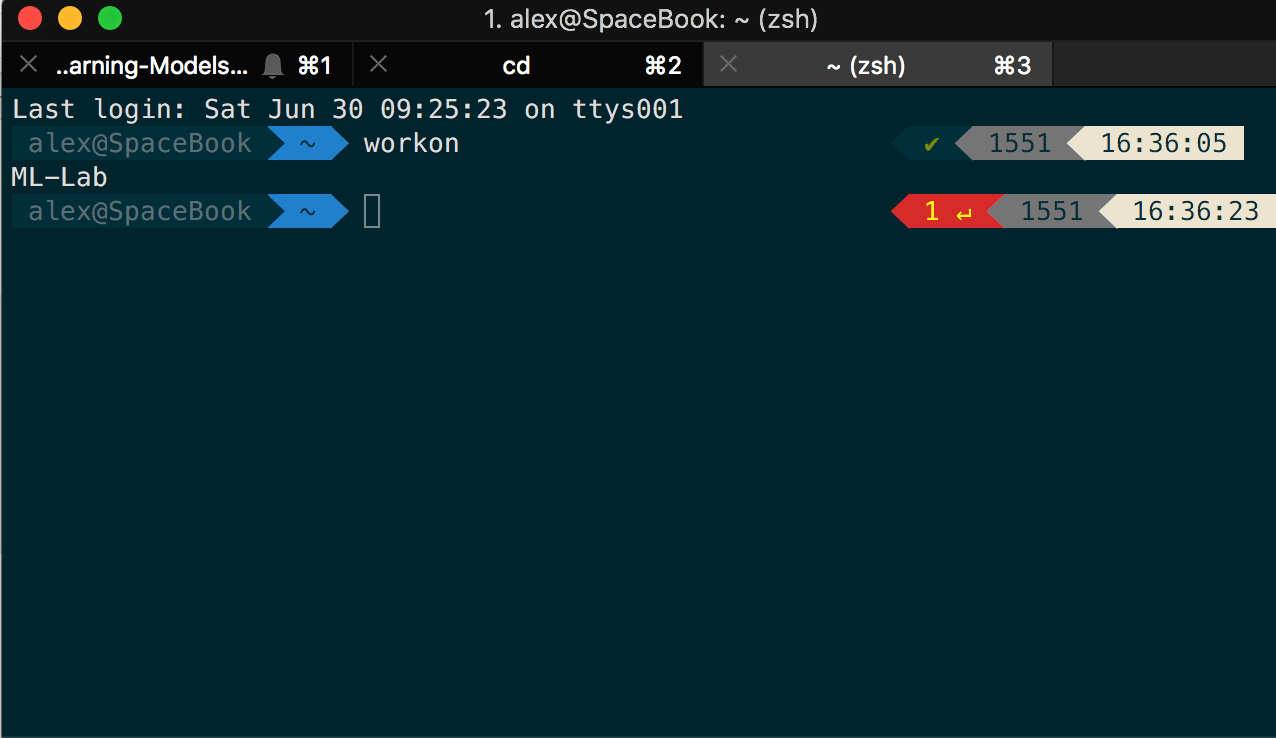 iTerm workon console view for python set up