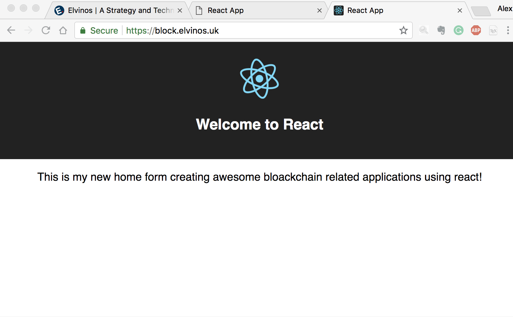 Block.elvinos.uk React app up and operational